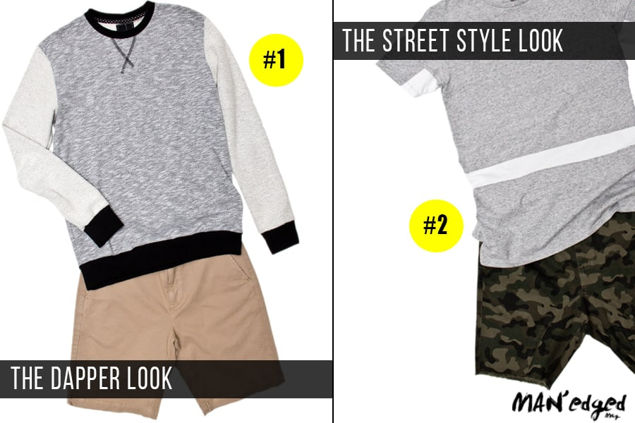 left the dapper looks, men's khaki short combos with heather men's sweater, right the dapper look, men's gray zanerobe shirt, camo print short