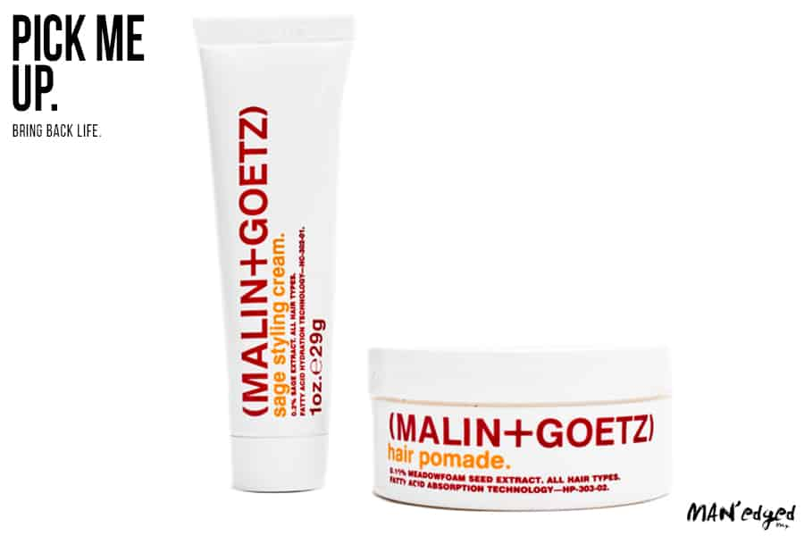 The Pick Me Up feature continues with a sleek men's hair product line. Malin + Goetz sage styling cream and hair pomade.