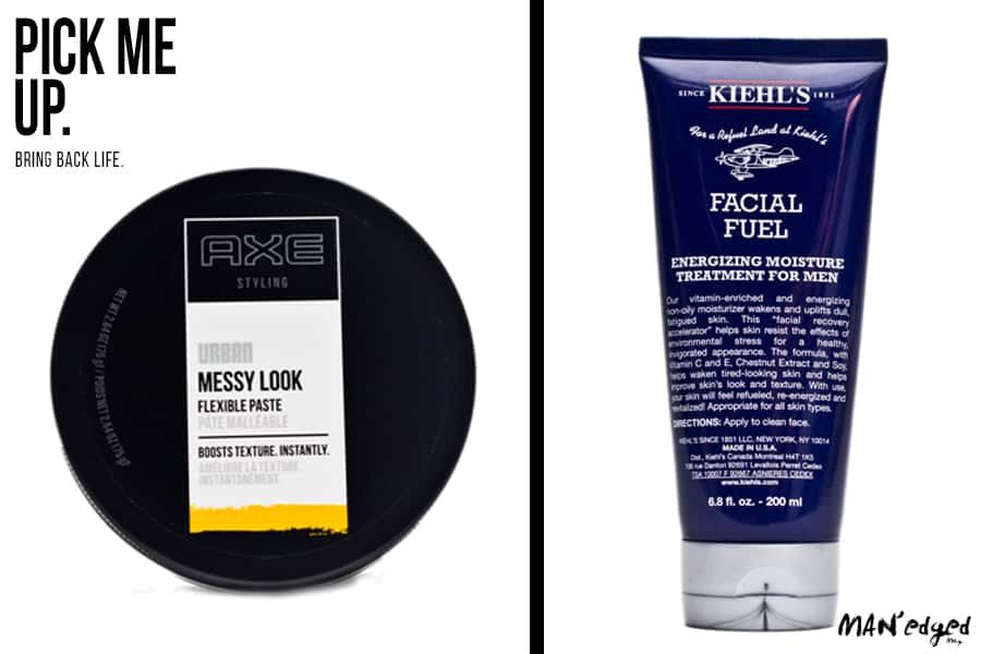 Two cool men's grooming products. Item one is from Axe. Axe's messy look flexible paste. The second men's grooming product is Kieh'ls facial fuel moisturizer.
