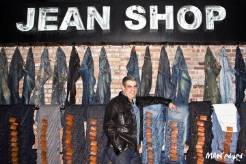Men's denim guru and founder of Jean Shop, Eric Goldstein, poses inside denim store in SOHO