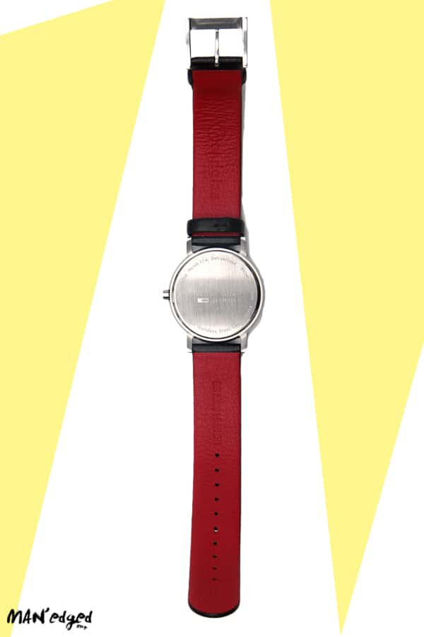 Back of Mondaine Men's Watch with red genuine leather straps