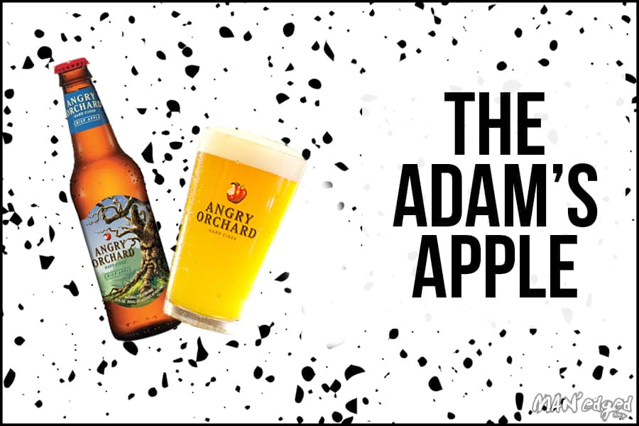 The Adam's Apple cocktail featuring Angry Orchard crisp apple cider on left and Samuel Adam's Boston Lager beer on right