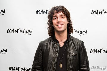Musician Josh Taerk at the MANedged Magazine event in Soho, New York wearing leather jacket.