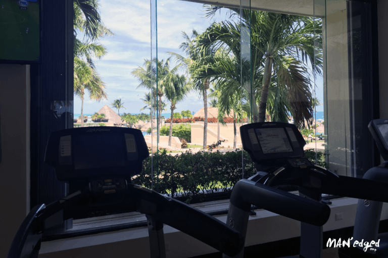 Palace Resort Cancun gym treadmill facing beach