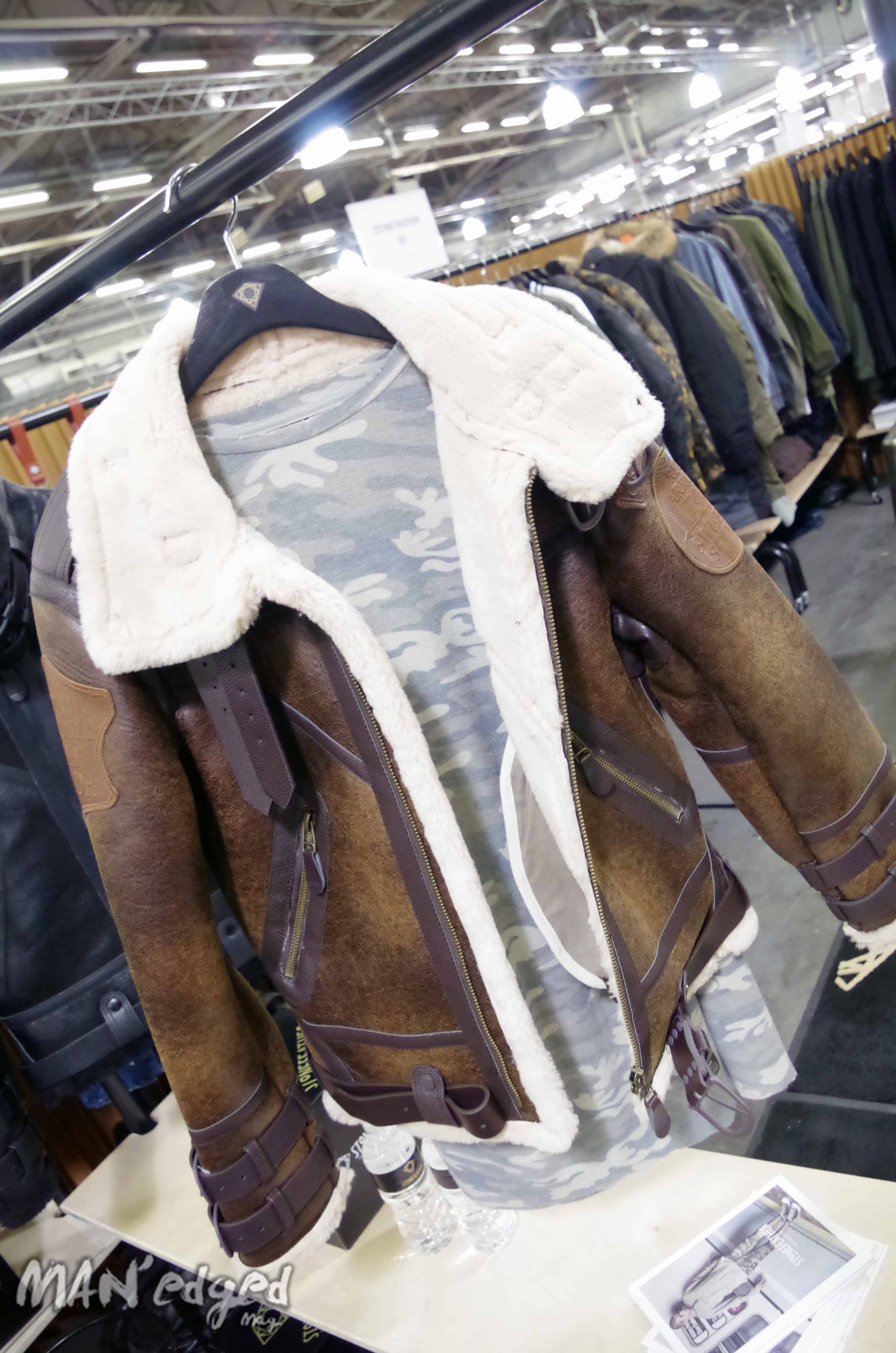 The sophisticated yet edgy leather jacket from by Stone Feather shown at Liberty Fairs.