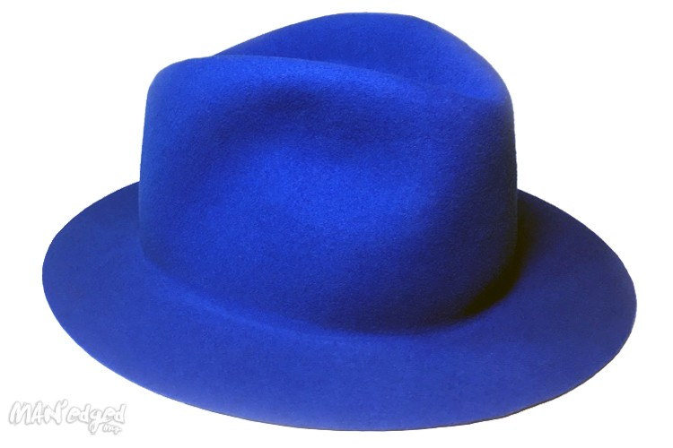 Blue men's fedora hat