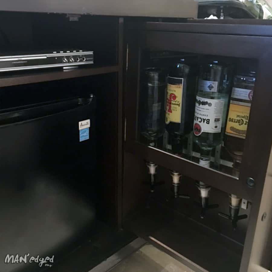 Alcohol bottles in room bar