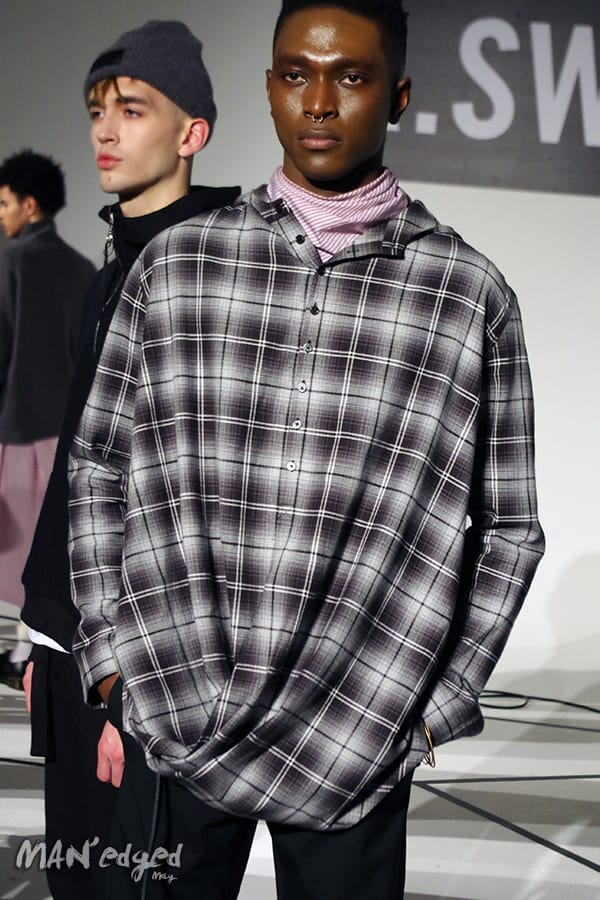 R.Swiader at New York Men's Day model featuring plaid men's shirt
