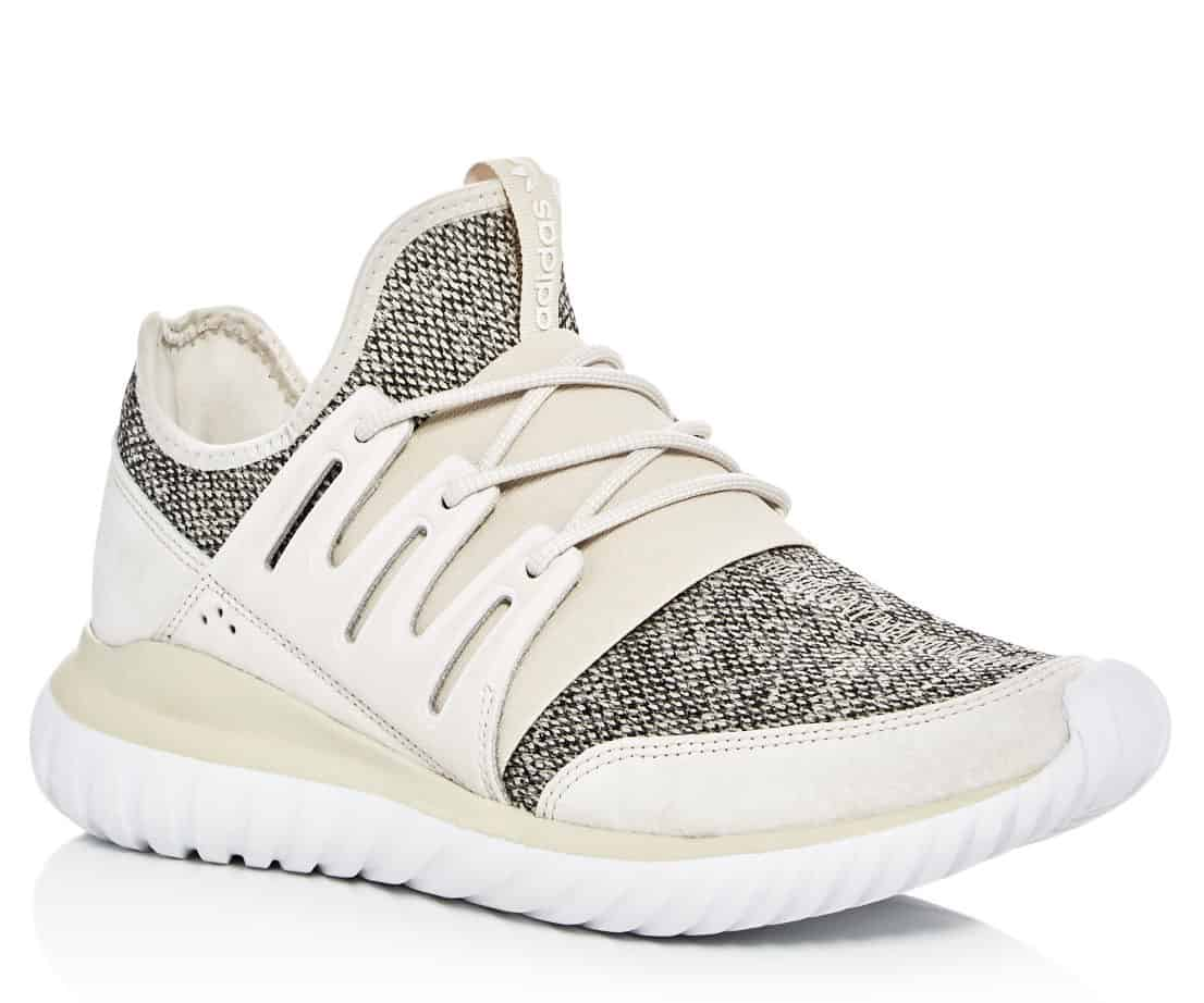 Cream colored men's adidas tubular shoe in this March Editor's Pick