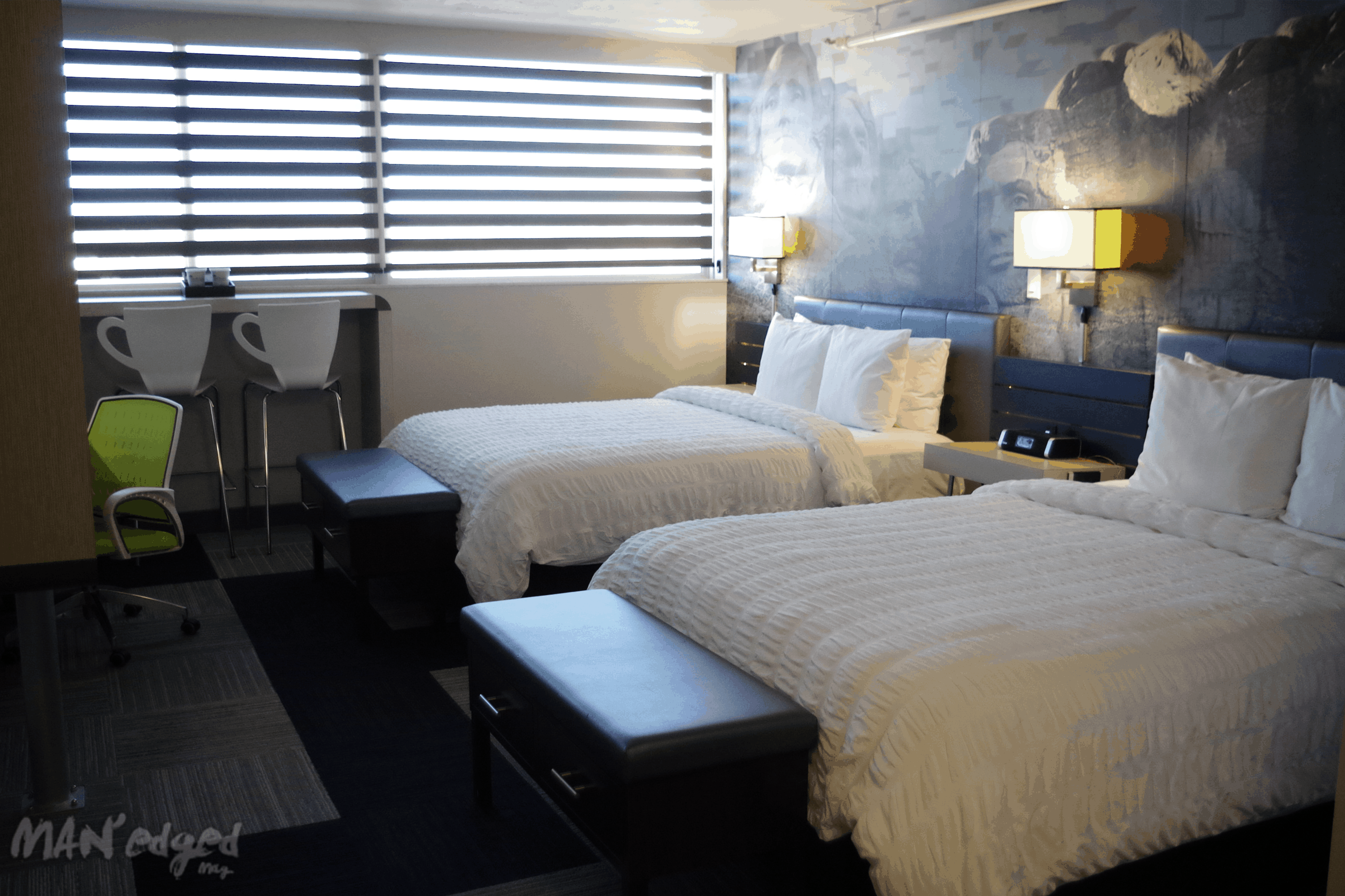 A look inside the modern rooms at the Rushmore Hotel and Suites.