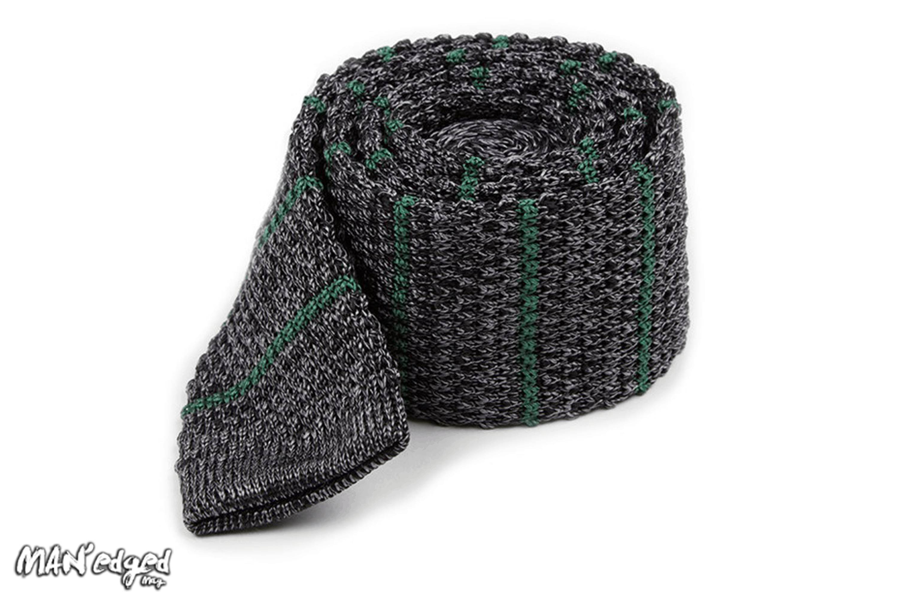 Green knit men's tie from the tie bar, featured in MAN'edged Magazine St Patricks Day men's style round up