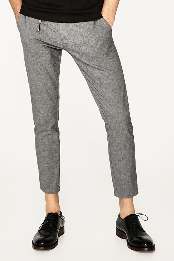 gray cropped men's trouser featured in April Editor's Picks