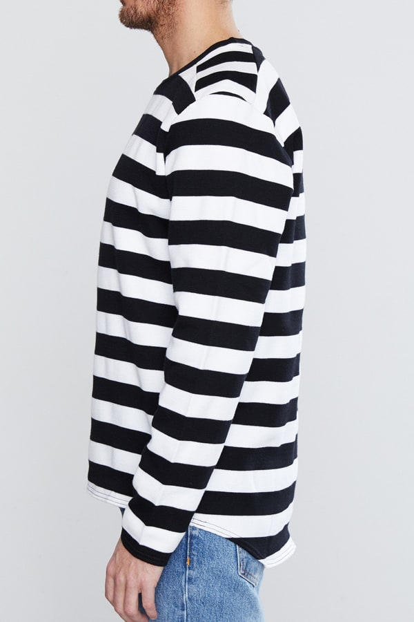 black and white long sleeved men's striped sweater men's style editor's pick