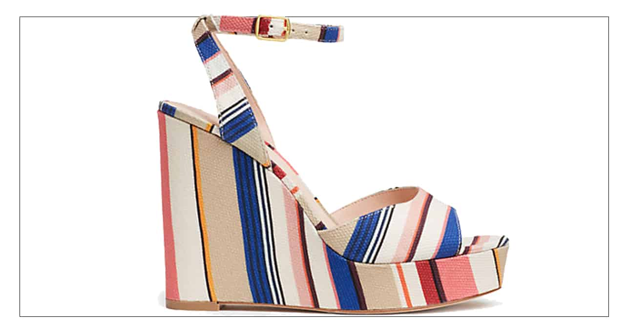 High wedge shoes with colorful stripes from Kate Spade