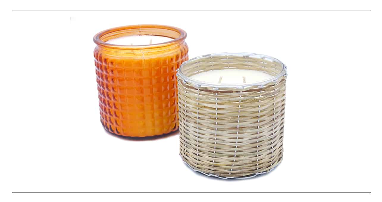 Mother's Day candle gift with orange glass candle and basket candle