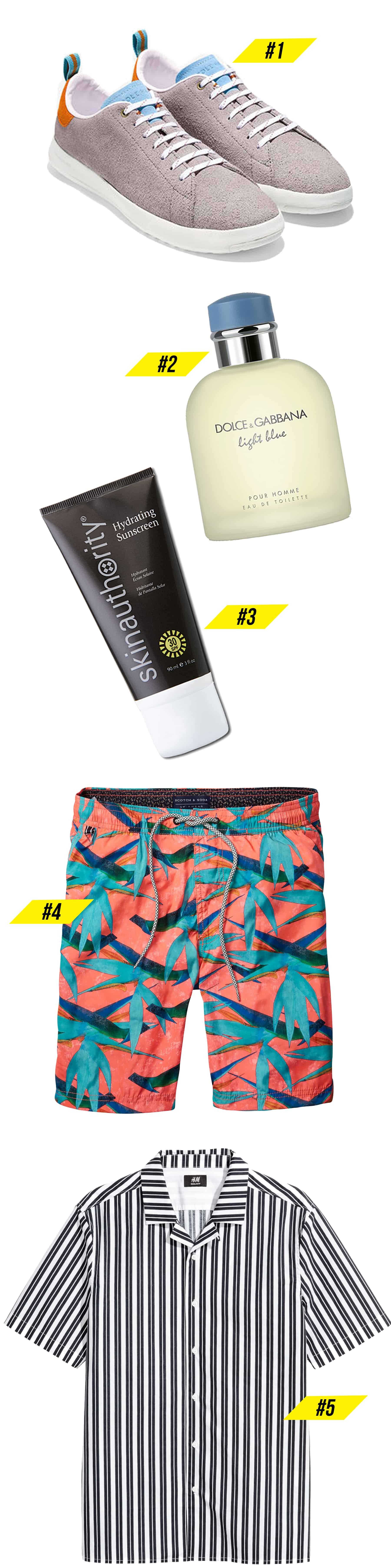 Editor's Picks for men round up featuring men's sneakers, colognes, sunscreen, multi color swim trunks, and stripe men's shirt