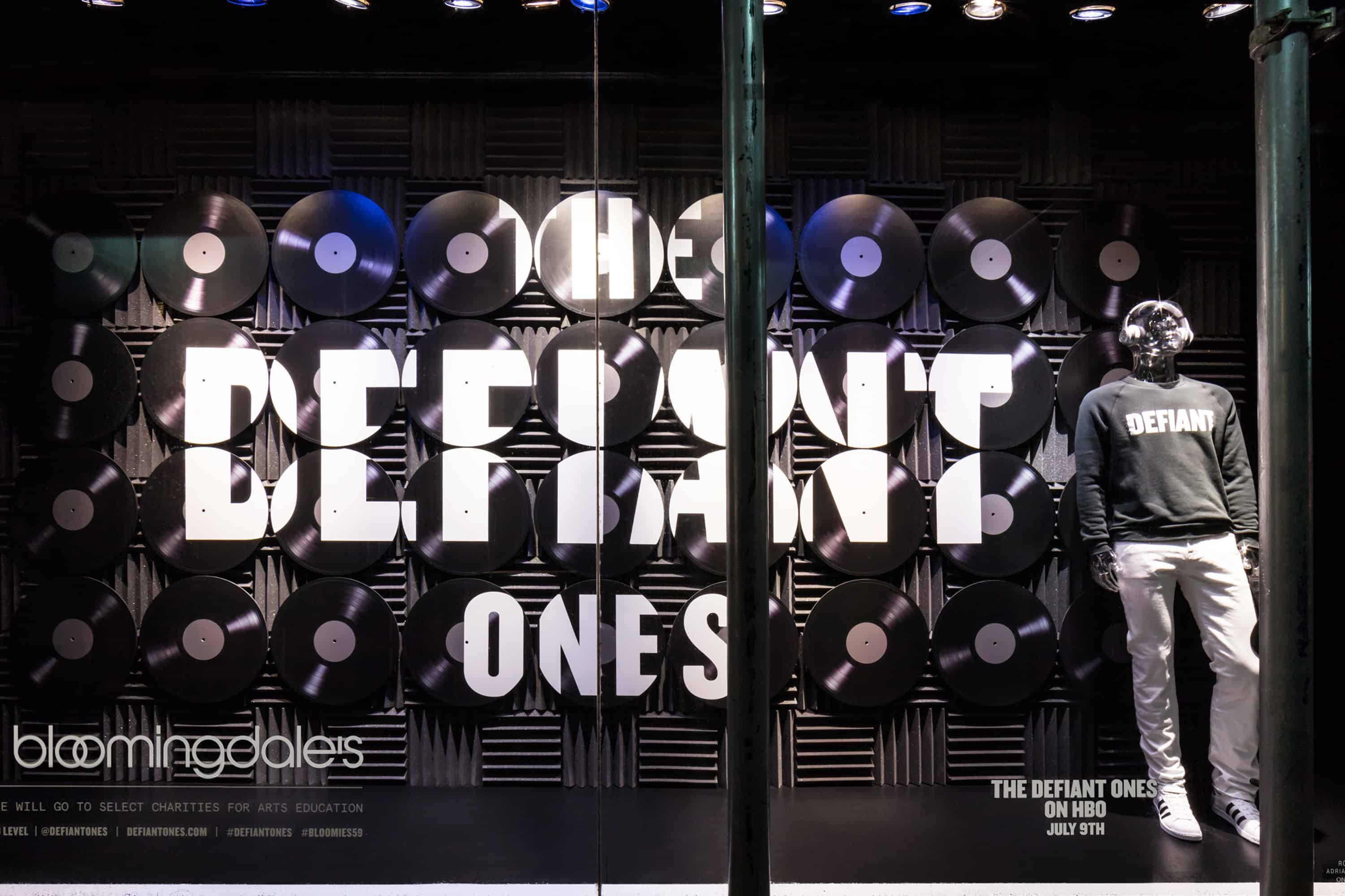 Bloomingdales 59th Street Window Displaying HBO THE DEFIANT ONES Merchandise