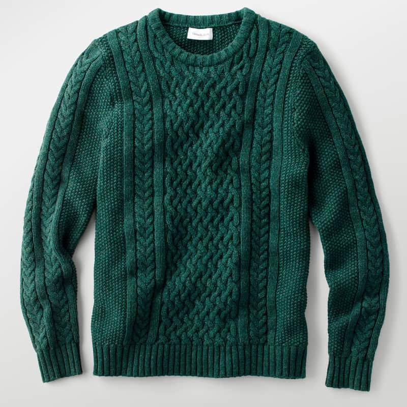 mens green cable knit sweater