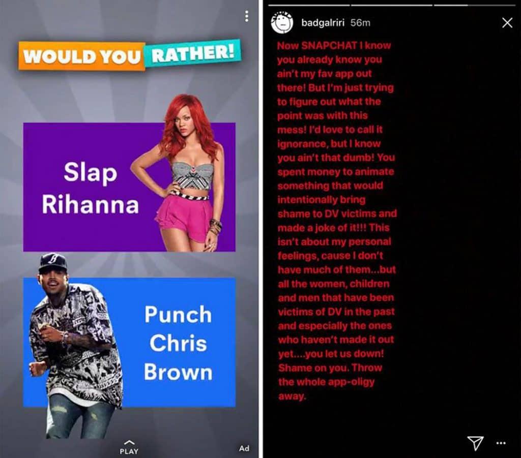 Rihanna Slams Snapchat