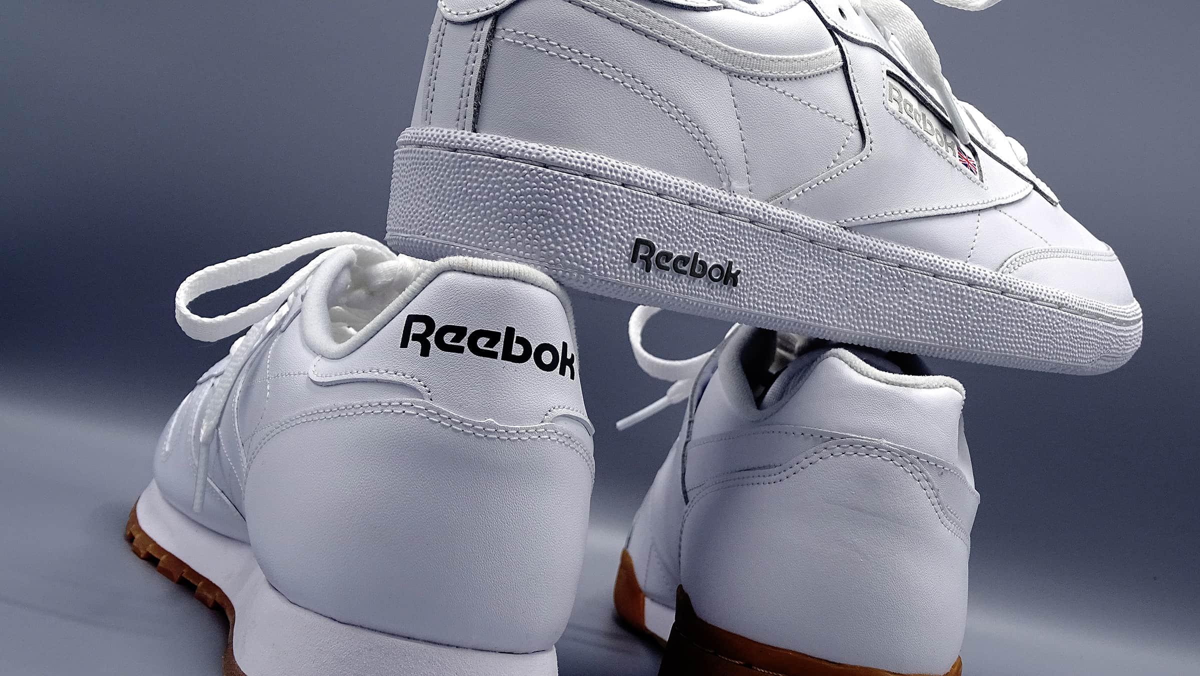 men's white reebok sneakers stacked