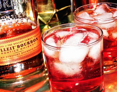 Cranberry Gingerale Punch using bulleit whiskey bourbon