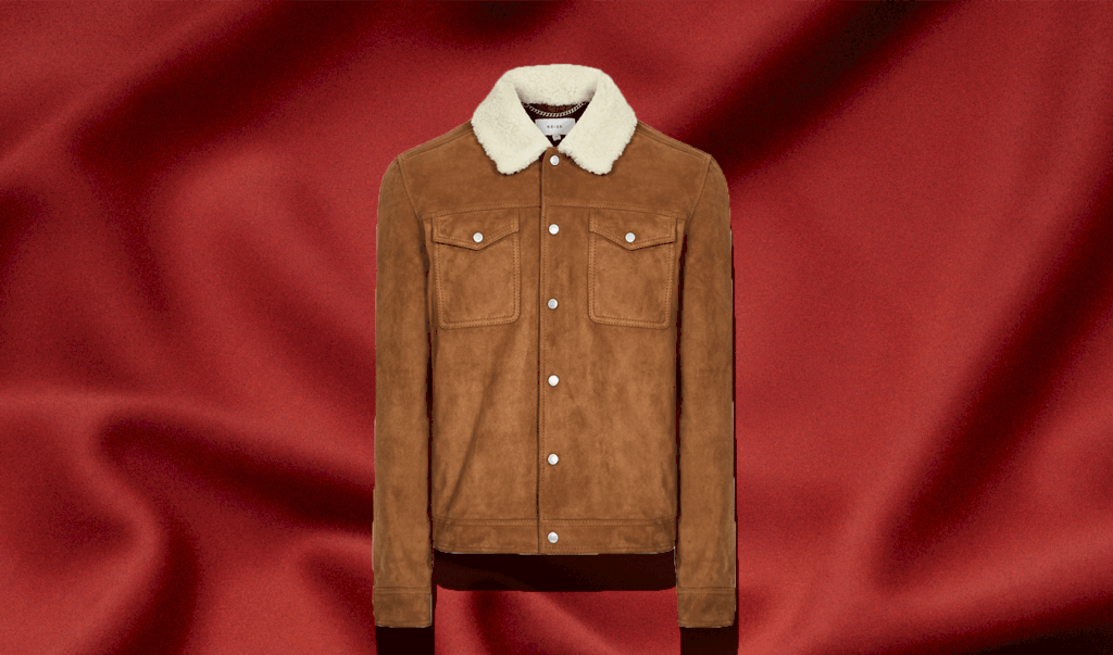 Suede Trucker Jacket with Shearling Collar Men's Miles in Tobacco Brown in best men's winter coat roundup