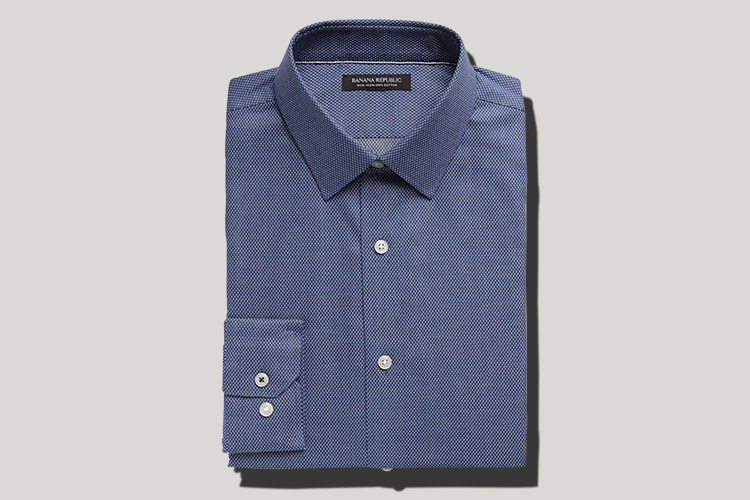 blue wrinkle-free dress shirt for men
