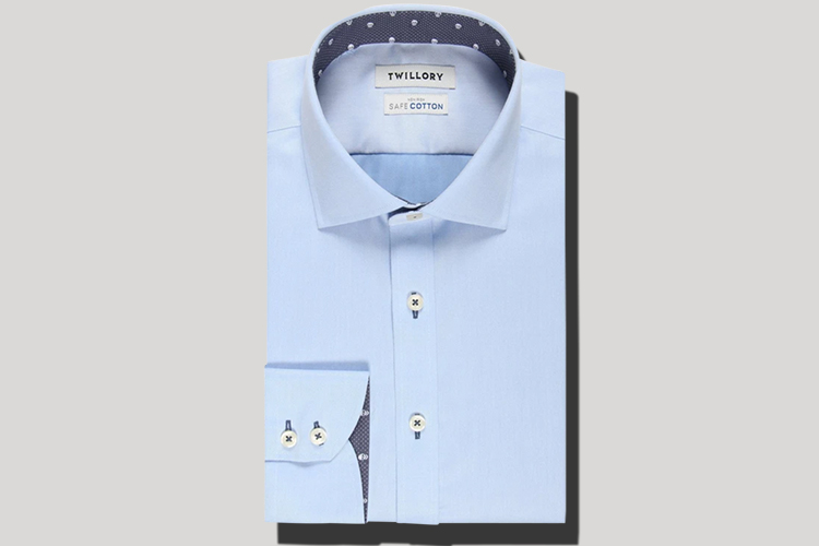 blue dress shirt no iron needed