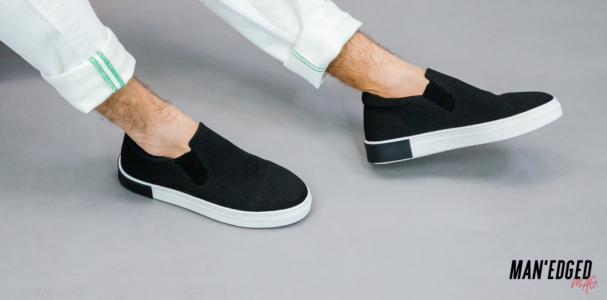 black slip on men's sneaker